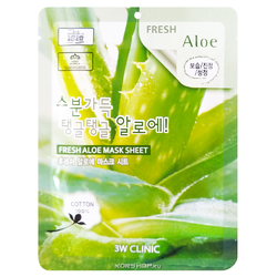3W Clinic Fresh Aloe Mask Sheet Тканевая маска для лица с экстрактом алоэ, 20 мл